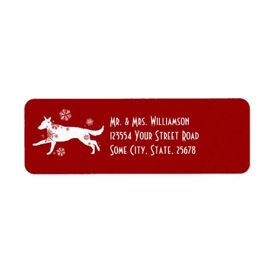 Festive White and Red Snow Dog Return Address