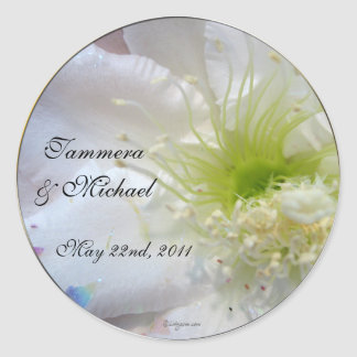 Festive White Flower Wedding Custom Envelope Seals Round Sticker