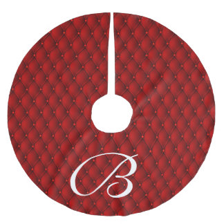 Festive White Initial Letter Red Faux Upholstery Brushed Polyester Tree Skirt