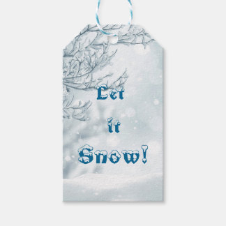 Festive White Snowy Design Let it Snow Gift Tags