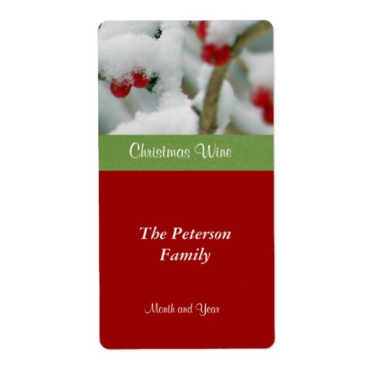 Festive Wine Label-Red Berries in Snow