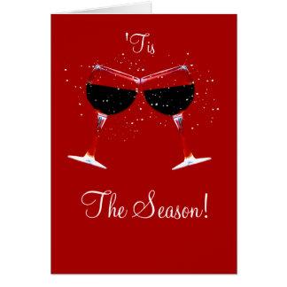 "Festive Wine ""Tis the Season Cheer Holiday Cards"
