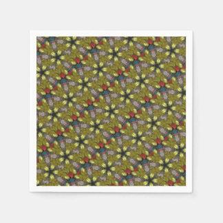 Festive Yellow Golden Kaleidoscope Star Pattern Paper Napkins