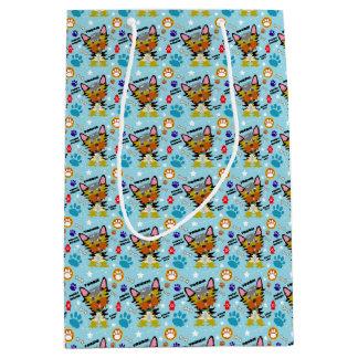 Festive Yorkshire Terrier Cartoon Medium Gift Bag