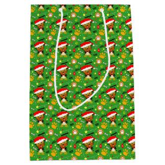 Festive Yorkshire Terrier Christmas Cartoon Medium Gift Bag