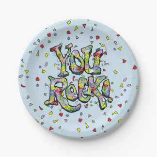 "Festive ""You Rock!"" Lettering Paper Plates"