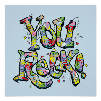 "Festive ""You Rock!"" Lettering Poster"