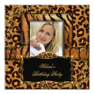 Fêtard sauvage d'anniversaire de léopard de tigre carton d'invitation  13,33 cm