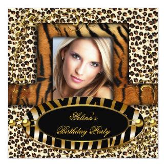 Fêtard sauvage d'anniversaire de léopard de zèbre carton d'invitation  13,33 cm