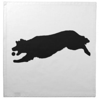 Fetching Golden Retriever Silhouette Love Dogs Printed Napkin