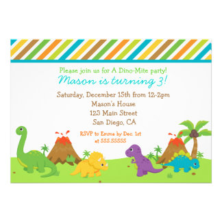 Fête d anniversaire de dinosaure Invitaions