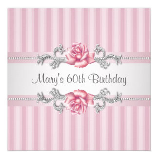 Fête d anniversaire de la femme de rose de rose so invitations