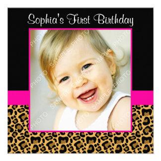 Fête d anniversaire de photo de filles de roses in cartons d'invitation personnalisés