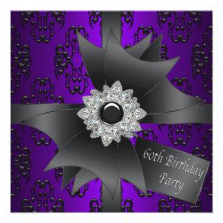Fête d anniversaire du pourpre de la femme d arc d cartons d'invitation personnalisés