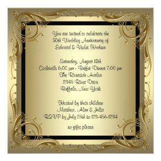 Fête d anniversaire élégante de mariage d or cinqu bristols personnalisés