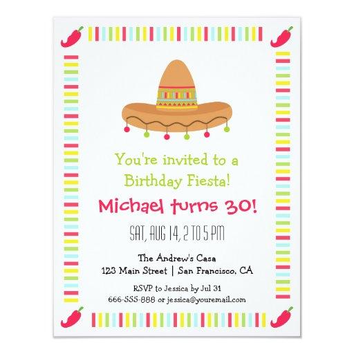 f te d 39 anniversaire adulte de fiesta mexicaine de carton d 39 invitation 10 79 cm x 13 97 cm zazzle. Black Bedroom Furniture Sets. Home Design Ideas