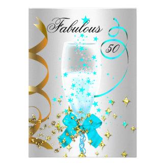 Fête d'anniversaire argentée d'or de 50 Teal Faire-part Personnalisables