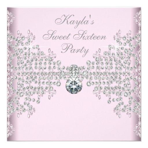 Fête d'anniversaire argentée du bonbon 16 à rose d cartons d'invitation