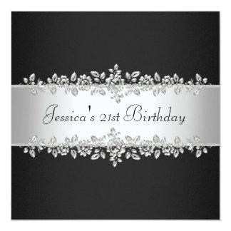 Fête d'anniversaire argentée noire et blanche carton d'invitation  13,33 cm