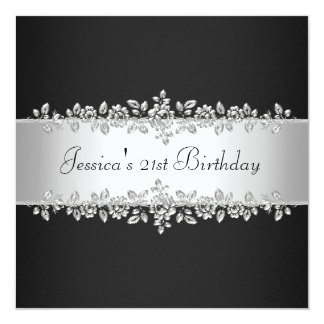 Fête d'anniversaire argentée noire et blanche cartons d'invitation