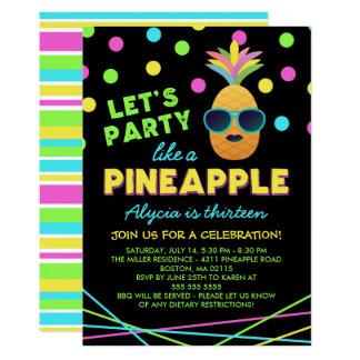 Fête d'anniversaire au néon d'ananas carton d'invitation  12,7 cm x 17,78 cm