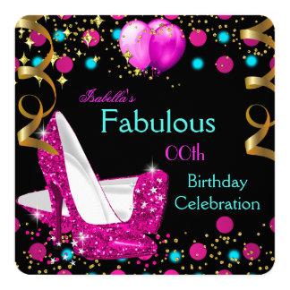 Fête d'anniversaire bleue turquoise de talons carton d'invitation  13,33 cm