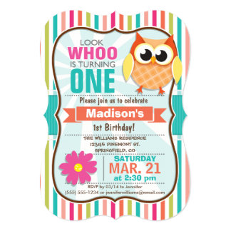 Fête d'anniversaire colorée de hibou de rayures carton d'invitation  12,7 cm x 17,78 cm