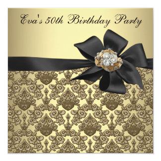 Fête d'anniversaire de damassé noire d'or carton d'invitation  13,33 cm