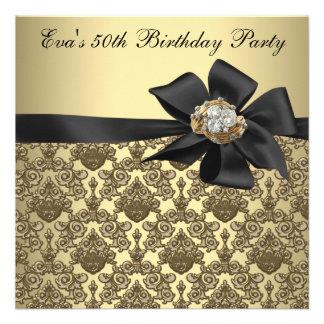 Fête d'anniversaire de damassé noire d'or cinquant bristols personnalisés