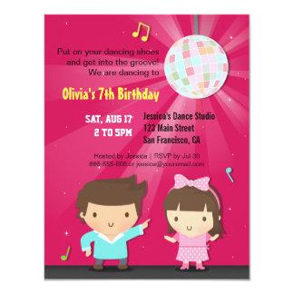 Fête d'anniversaire de danse de cannelure de boule carton d'invitation 10,79 cm x 13,97 cm