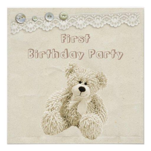 Fête d'anniversaire de dentelle vintage d'ours de faire-parts