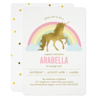 Fête d'anniversaire de filles de licorne d'or carton d'invitation  12,7 cm x 17,78 cm