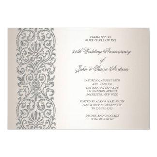 Fête d'anniversaire de frontière argentée de perle carton d'invitation  12,7 cm x 17,78 cm