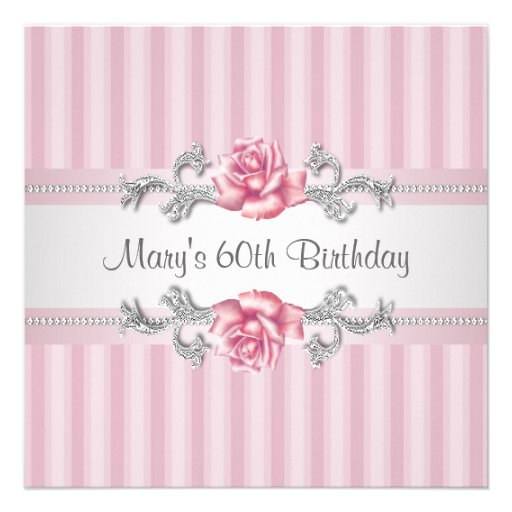 Fête d'anniversaire de la femme de rose de rose so invitations