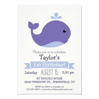 Fête d'anniversaire de l'enfant pourpre mignon de carton d'invitation  12,7 cm x 17,78 cm