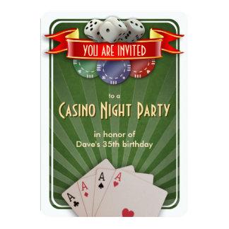 Fête d'anniversaire de nuit de tisonnier de casino carton d'invitation  12,7 cm x 17,78 cm