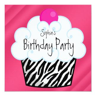 Fête d'anniversaire de petit gâteau de filles de carton d'invitation  13,33 cm