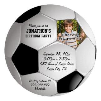 Fête d'anniversaire de photo de ballon de football invitations personnalisées