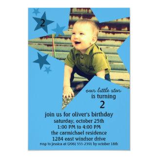 Fête d'anniversaire de photo de superstar de bleu carton d'invitation  12,7 cm x 17,78 cm