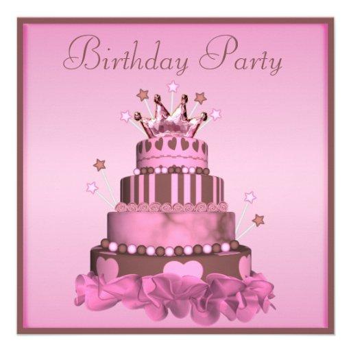 Fête d'anniversaire de princesse Cake Invitations Personnalisées