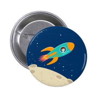 Fête d'anniversaire d'enfant d'astronaute badge rond 5 cm