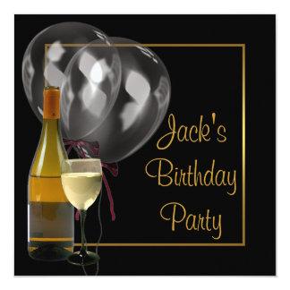 Fête d'anniversaire des hommes de couleur d'or de carton d'invitation  13,33 cm