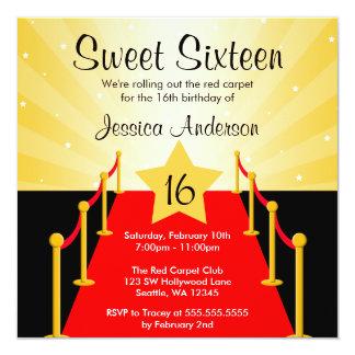 Fête d'anniversaire du bonbon 16 de Hollywood de Carton D'invitation 13,33 Cm
