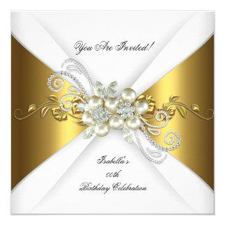 Fête d'anniversaire élégante de diamant d'argent carton d'invitation  13,33 cm