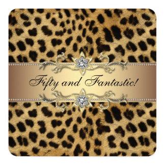 Fête d'anniversaire élégante de léopard d'or carton d'invitation  13,33 cm