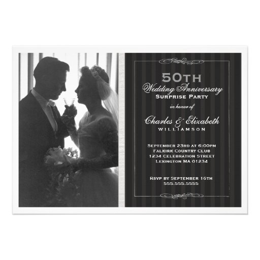 Fête d'anniversaire élégante de mariage de photo c cartons d'invitation