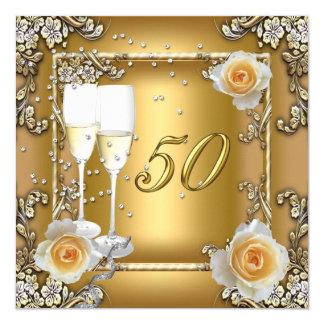 Fête d'anniversaire élégante de mariage d'or carton d'invitation  13,33 cm