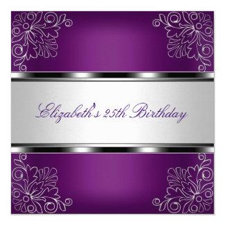 Fête d'anniversaire florale argentée pourpre de carton d'invitation  13,33 cm
