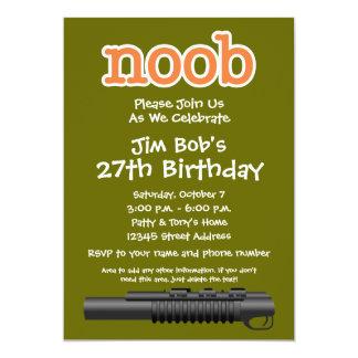 Fête d'anniversaire - Gamer drôle de Noob Carton D'invitation 12,7 Cm X 17,78 Cm