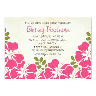 Fête d'anniversaire hawaïenne de ketmie fuchsia carton d'invitation  12,7 cm x 17,78 cm